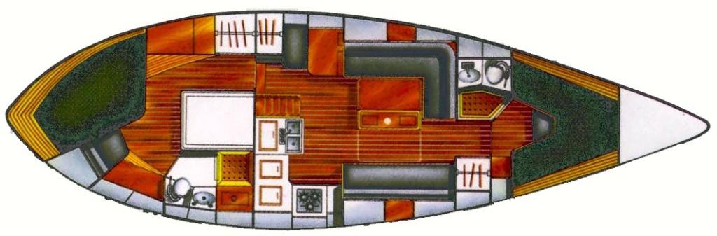 Tatyana Vancouver 42 Center Cockpit Interior Layout (Kandu differs slightly)