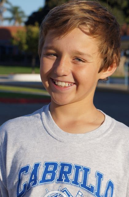 Trent Rigney outside Cabrillo Middle School
