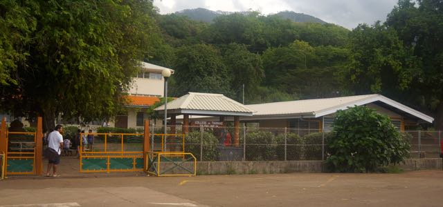 School entrance with guardian monitoring comings and goings
