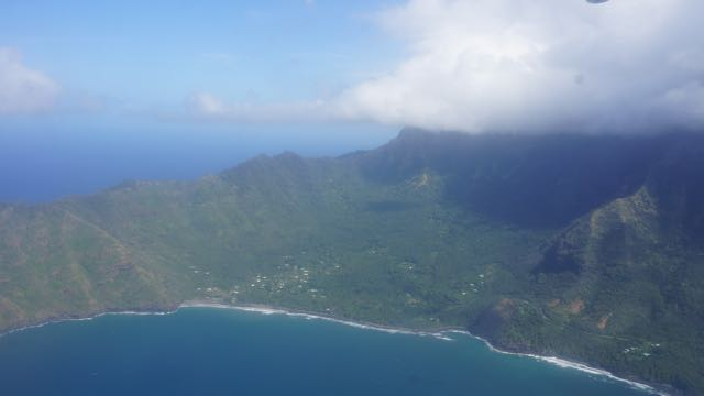 Nuku Hiva looking down from the airplane.
