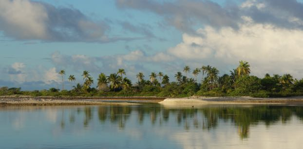 Just north of the South Pass of Fakarava on a calm morning.