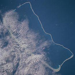 Fakarava as seen from satellite.
