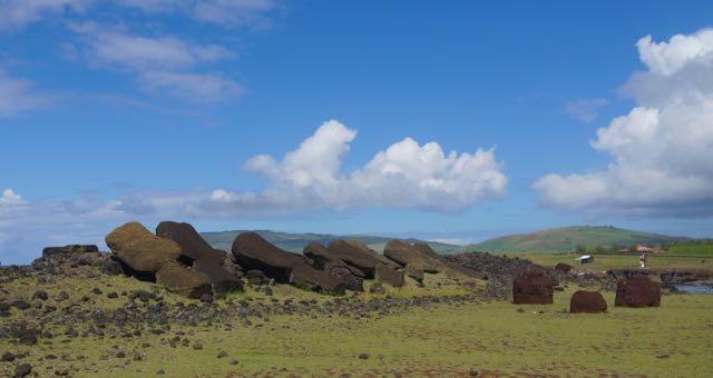 Ahu Tepeu archeological site located on the Western side of Rapa Nui.