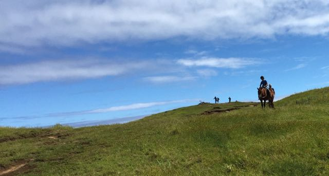 On horseback, Trent Rigney rode to the top of the highest volcano Maunga Terevaka Hill. The site was breathtaking.